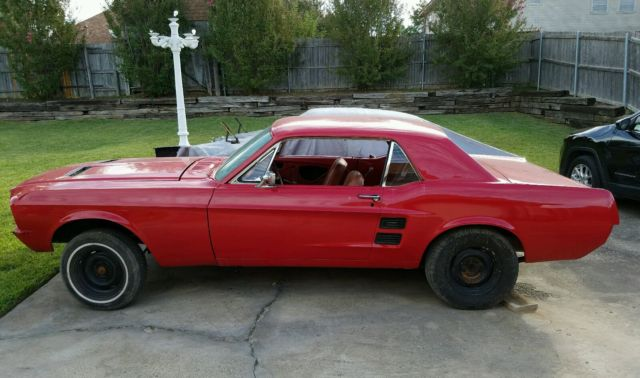 1967 red ford mustang coupe rolling project - Red 1967 Ford Mustang Coupe