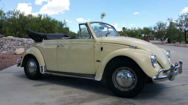 1967 vw beetle convertible daily driver in yukon yellow for sale photos technical. Black Bedroom Furniture Sets. Home Design Ideas