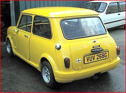 1968 Yellow Mini Classic Mini Coupe with 1986 seats for comfort interior