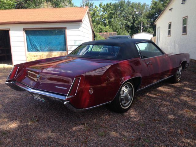 1968 Cadillac Eldorado 2 Door Burgundy W Black Top Runs