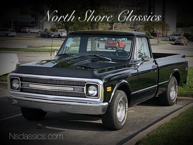 1968 Chevrolet C-10 -ALABAMA RUST FREE SHORT BED PICK UP-BLACK ON BLAC