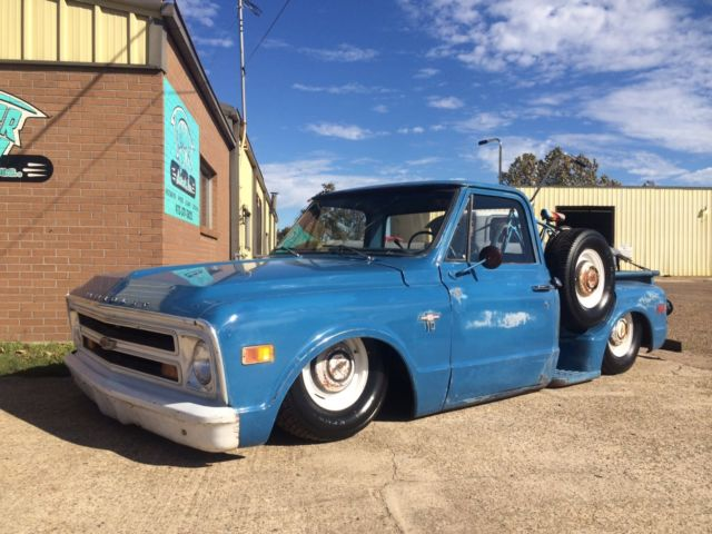 1968 Chevrolet C-10 bagged body dropped patina'd short bed shop truck