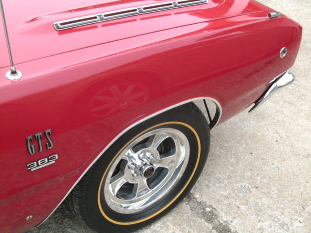 1968 Red/Black Vinyl Top w/White Bumblebee Tail Stripe Dodge Dart GTS 2 door hardtop with Pearl White interior