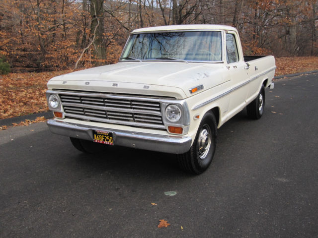1968 White Ford F-250 Extended Crew Cab Pickup with Tan interior