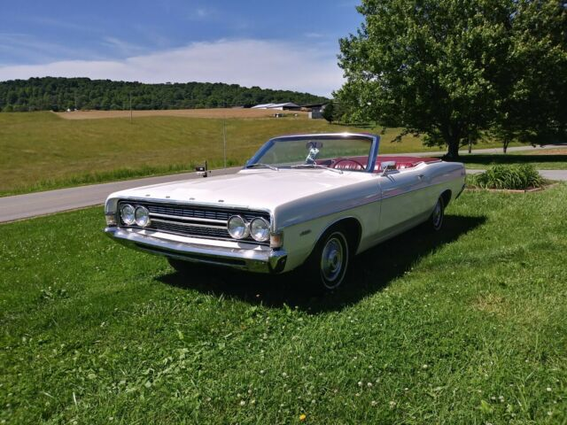 1968 White Ford Fairlane Convertible with Burgundy interior