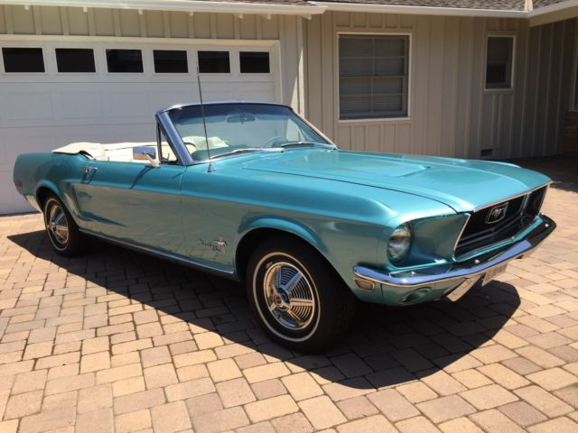 1968 Ford Mustang Car Convertible 2 Door Tahoe Turquoise Automatic Red
