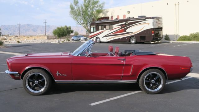 1968 Burgundy Ford Mustang CONVERTIBLE 289 V8 C CODE! P/S , 4 WHEEL DISC !!! -- with Red interior