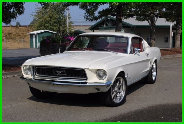 1968 White Ford Mustang with Red interior