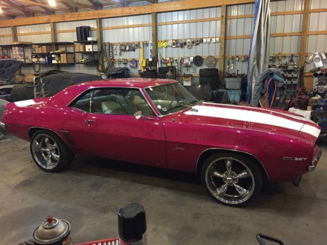 1969 camaro nitto tires american racing wheels fuchsia paint