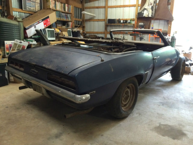 1969 chevy camaro convertible project car for sale photos technical specifications description. Black Bedroom Furniture Sets. Home Design Ideas