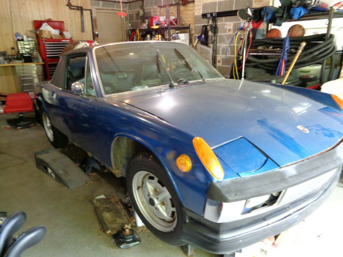 1969 Adriatic Blue Porsche 914 Convertible with Black/Plaid interior