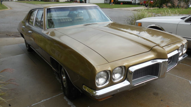 1970 4 Door 350 Two Barrel Pontiac Le Mans Gold On Gold For Sale Photos Technical