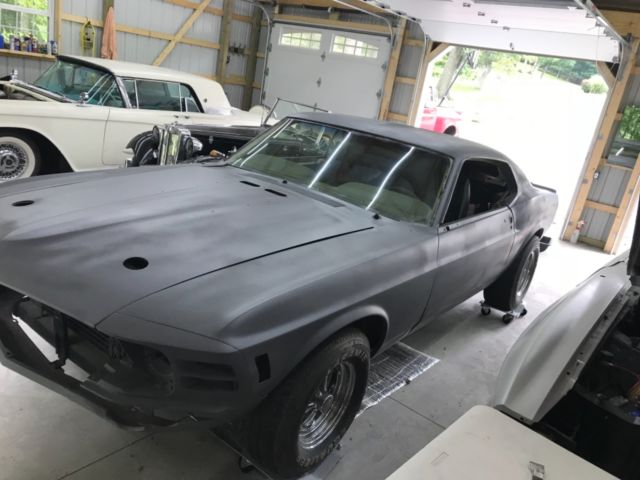 1970 Gray Ford Mustang Fastback with Gold interior