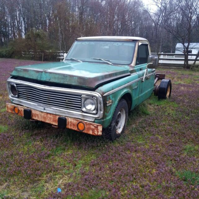 1971 Green Chevrolet C-10 C-20 Standard Cab Pickup with Green interior