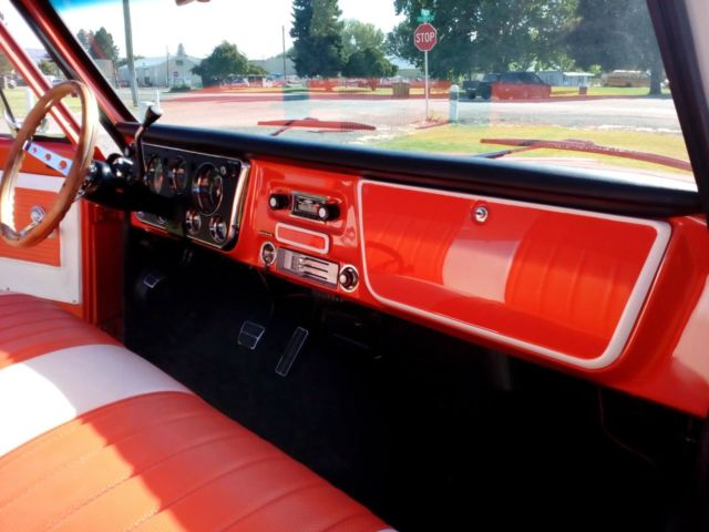 1971 Hugger Orange and Antique White Chevrolet Cheyenne Long Bed with White and Orange interior