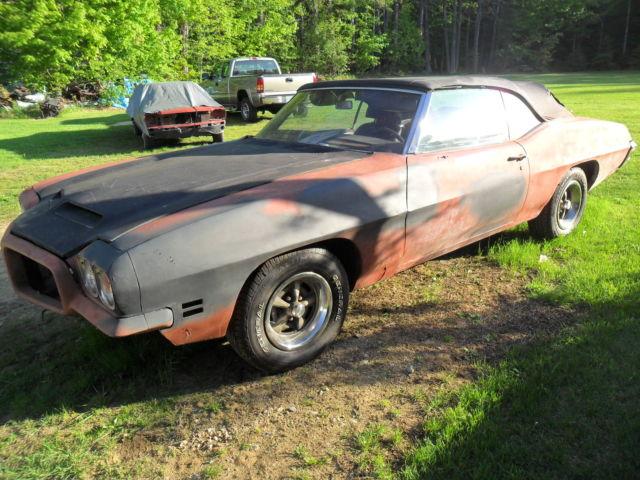 1971 GTO CONVERTIBLE RARE FACTORY TRIPLE BLACK OPTIONS LOW