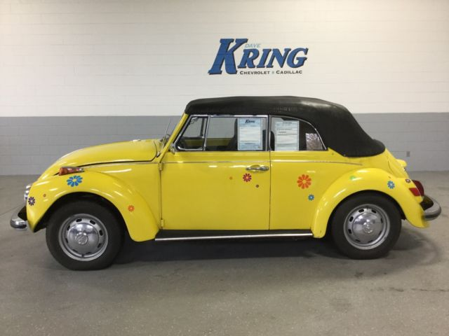 1971 Yellow Volkswagen Beetle - Classic Convertible with Black interior