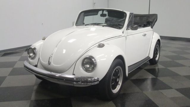 1971 White Volkswagen Beetle-New Convertible with Black interior