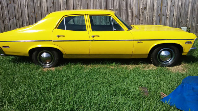 1972 Yellow Chevrolet Nova with black interior