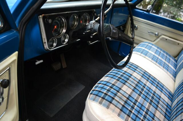 1972 Blue Chevrolet C-10 C20 Standard Cab Pickup with White interior