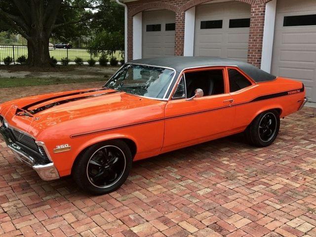 1972 Chevy Nova Yenko Stripes Custom Orange Paint Rebuilt 350 W Mild Cam