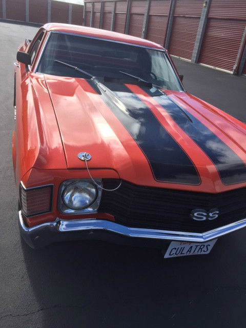 1972 El Camino Orange With Black Stripe Cowl Induction