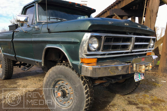 1971 Green Ford F-250 Highboy Standard Cab Pickup with Black interior
