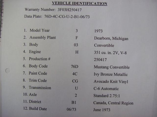 Mustang Transmission Identification