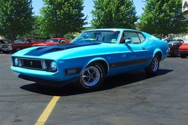 1973 Ford Mustang Mach 1 Grabber Blue 302 PS PB New Chrome Magnums