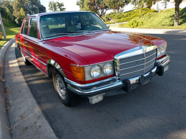 1973 Red Mercedes-Benz 400-Series Sedan with Tan interior