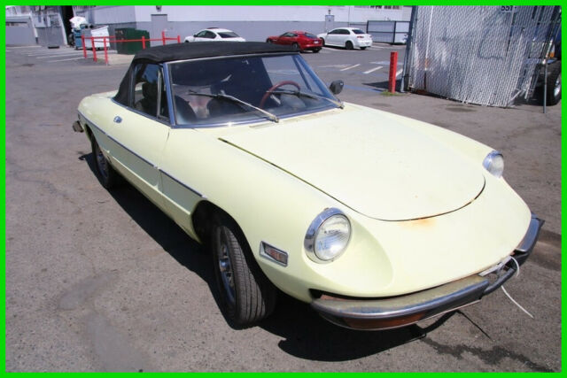 1974 Yellow Alfa Romeo Spider Convertible with Black interior