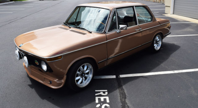 1974 Brown BMW 2002 Coupe with BLACK AND GREEN interior