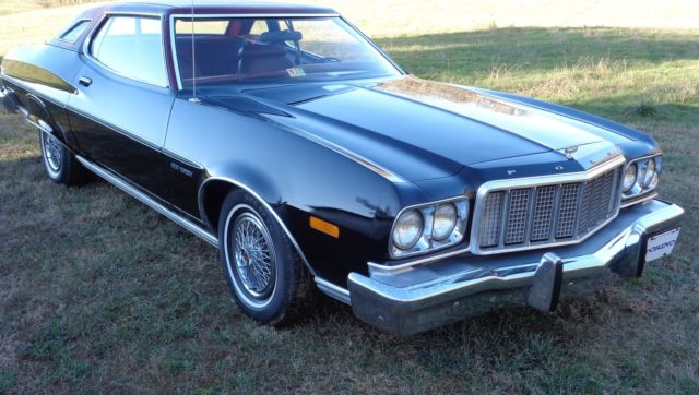 1974 Black Ford Torino GRAND TORINO BROUGHAM  Coupe with Burgundy interior