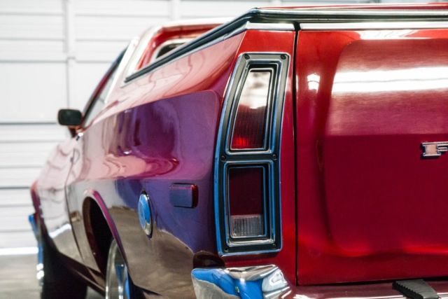 1974 Red Ford Ranchero RWD -- with Black interior