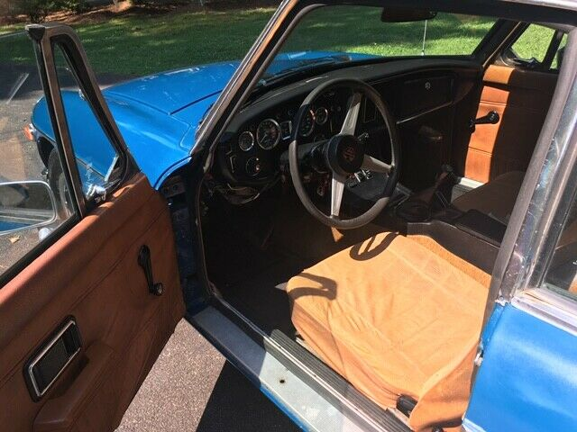 1974 Blue MG MGB Coupe with Brown interior
