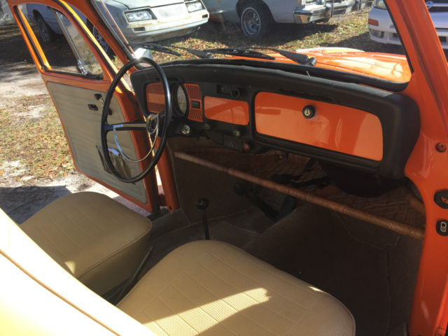 1974 vw beetle bug orange with new peanut butter interior runs great for sale photos. Black Bedroom Furniture Sets. Home Design Ideas