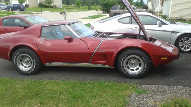 1975 Corvette Stingray - Dark Red Metallic - New Silver Interior ...