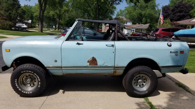 1975 Blue International Harvester Scout Convertible with Black interior
