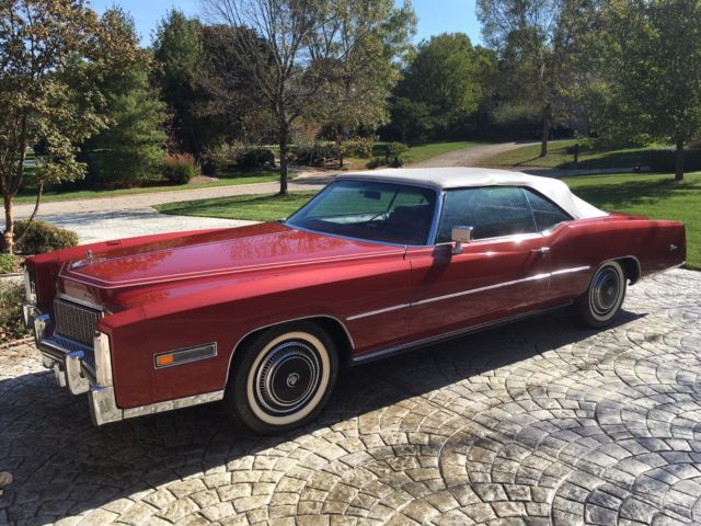 1976 cadillac eldorado convertible, red, red leather interior, white