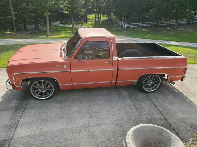1977 Orange Chevrolet C-10 with Red interior