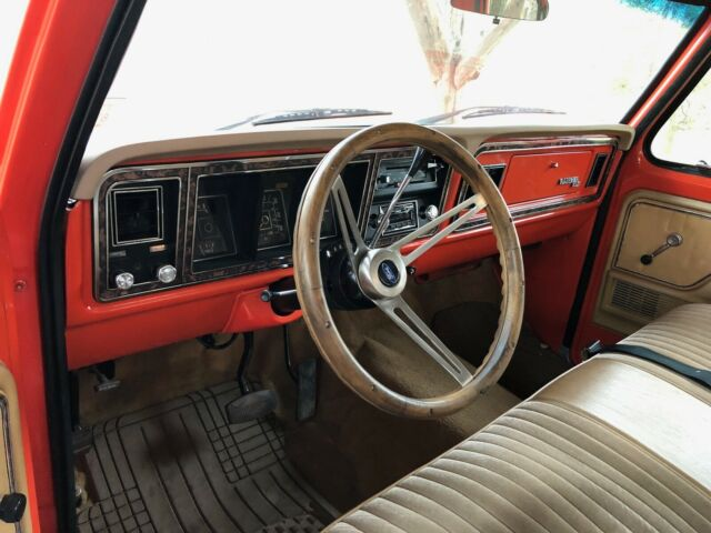 1977 Orange and White Ford F-250 Ranger XLT Extended Crew Cab Pickup with Tan interior