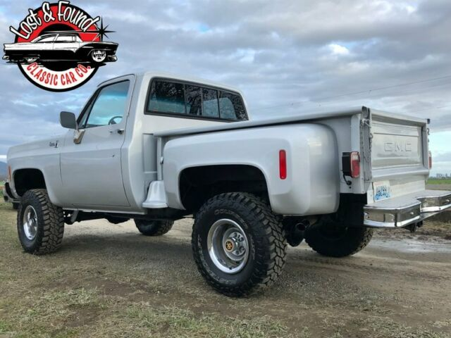 1977 Silver GMC Sierra Classic Stepside -- with Charcoal  Leather interior