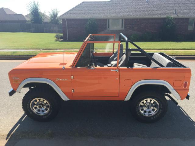 1977 Premium Orange Paint Ford Bronco Automatic Low Miles Rebuilt Engine