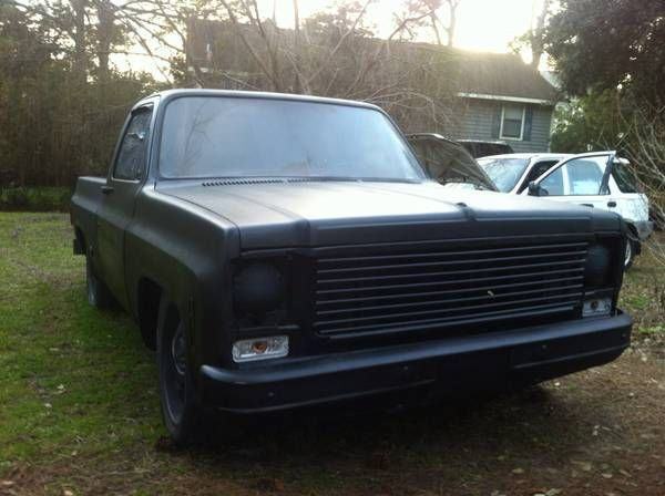 1978 chevy c10 project truck, short bed, satin black ...