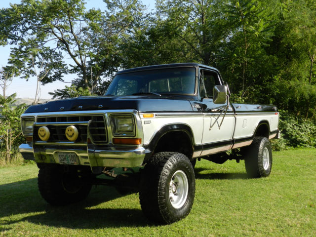 1979 Ford F250 4x4 Ranger Xlt Lifted Black And Silver Best On Ebay