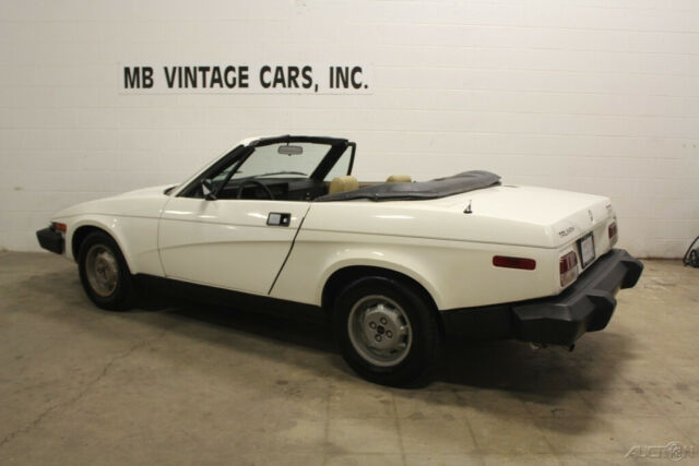 1979 White Triumph TR7 Convertible with Tan interior