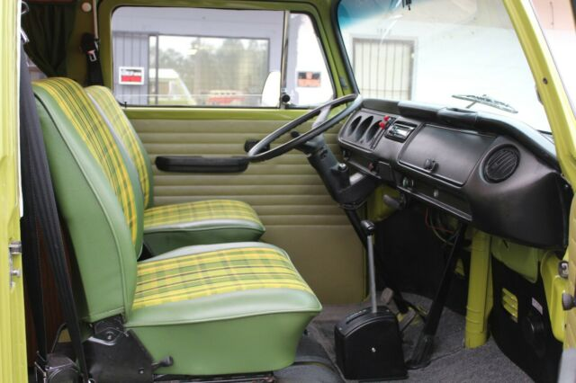 1979 Sage Green Volkswagen Bus/Vanagon with Green plaid interior