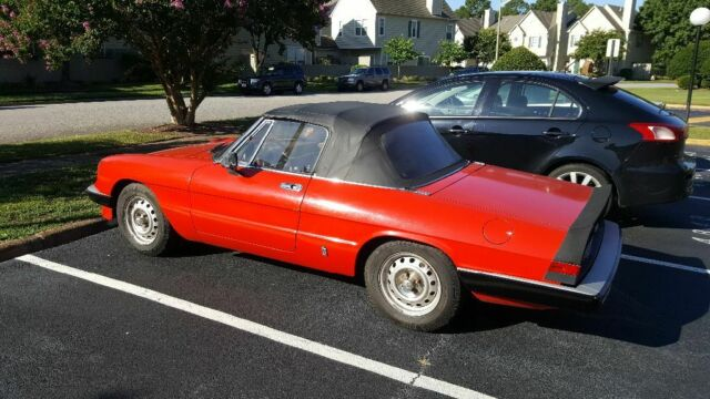 1985 Red Alfa Romeo Spider Convertible with Tan interior