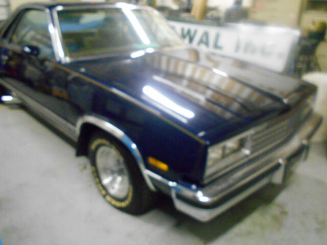 1985 Dark Blue Chevrolet El Camino SS Super Sport / Choo Choo Edition Standard Cab Pickup with Tan interior