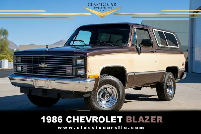 1986 Dark Brown and Tan Chevrolet Blazer 4x4 Silverado SUV with Tan interior